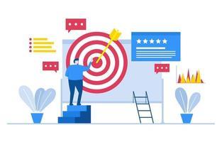 zakenman die aan digitaal marketingproject werkt met bullseye en sterbeoordelingen vector