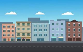 stadsgebouwen met straat vector