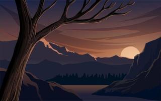 zonsonderganglandschap met berg, rivier en boom vector