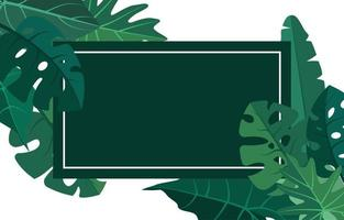 tropische achtergrond sjabloon met rand gevuld met grote planten en bladeren vector