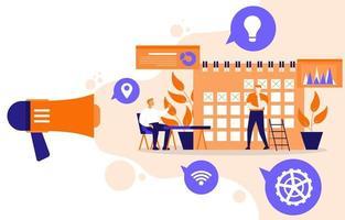 zakenlieden die werken aan digitale marketingstrategie met kalender en luidspreker vector