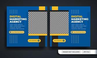 blauw en geel marketingbureau-thema voor postsjabloon voor sociale media vector