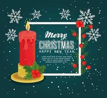 prettige kerstdagen en gelukkig nieuwjaar banner met kaars vector