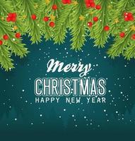 prettige kerstdagen en gelukkig nieuwjaar banner met bladeren vector ontwerp