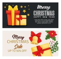 vrolijk kerstfeest Gelukkig Nieuwjaar verkoop en geschenken vector ontwerp