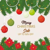 prettige kerstdagen en gelukkig nieuwjaar verkoop banner vector