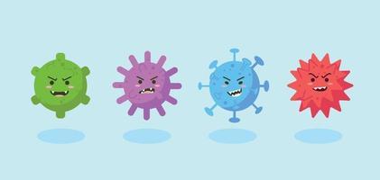 verzameling schattig virus- of coronavirus-teken in vlakke stijl. wereld coronavirus en covid-19 uitbraak en pandemie-aanval concept. vector