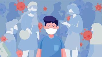 menigte van mensen die een beschermend medisch masker dragen. menselijke bescherming tegen virusuitbraak. wereld coronavirus en covid-19 uitbraak en pandemie-aanval concept. vector