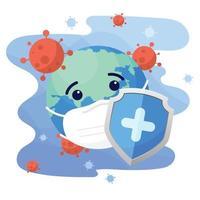 schild beschermt wereldkarakter met beschermend medisch masker tegen coronavirus. wereld coronavirus en covid-19 uitbraak en pandemie-aanval concept. vector