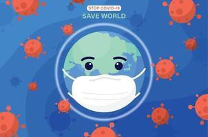 wereldkarakter dat beschermend medisch masker met coronavirus over de hele wereld draagt. coronavirus en covid-19-concept voor uitbraak en pandemie-aanvallen. vector