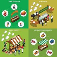boerderij lokale markt isometrische 2x2