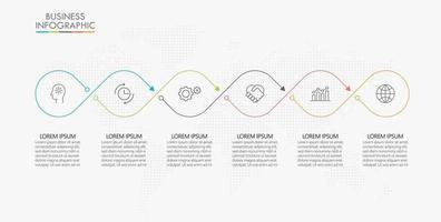 infographic dunne lijn ontwerpsjabloon met 6 opties vector