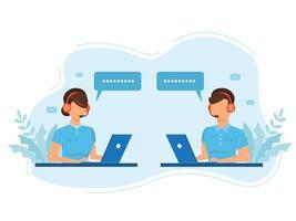 man en vrouw operators in headsets die klanten adviseren in vlakke stijl. callcentermedewerkers helpen klanten. callcenter, hotline platte vector.