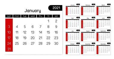 eenvoudige en schone 2021-kalender. wit, zwart en rood volledige maand jaar, vector sjabloon
