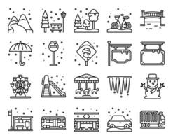 winter stad lijn vector icon set