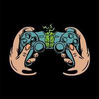 game joystick met handen. vector
