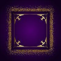 Decoratieve frame achtergrond met goud glitter vector
