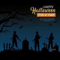 gelukkige halloween-banner met zombiesilhouetten op de begraafplaats