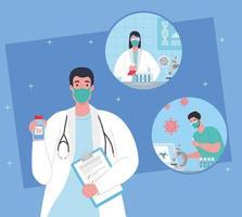 medisch vaccinonderzoek voor coronavirus met artsen in het laboratorium