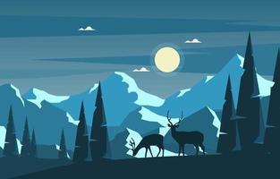 besneeuwde winterlandschap met bomen, bergen en herten vector