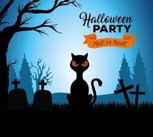 gelukkige halloween-banner met zwarte kat op de begraafplaats