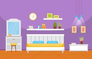 gezellig slaapkamerinterieur met tweepersoonsbed en planken vector