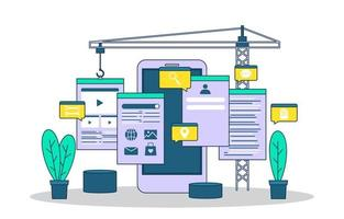 smartphone mobiele app ontwikkelingsproces platte ontwerp illustratie