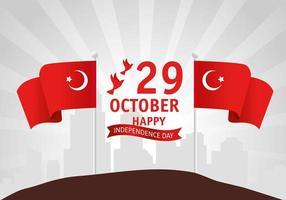 29 oktober, dag van de turkse republiek met vlag en vliegende duiven vector