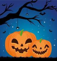 happy halloween-banner met pompoenen, droge boom en vleermuizen vliegen vector