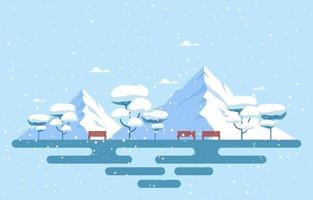 besneeuwde winterparkscène met bergen, banken en bomen vector