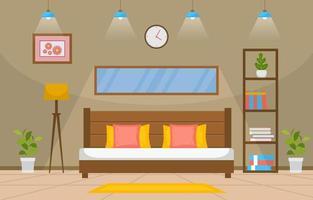 gezellig slaapkamerinterieur met tweepersoonsbed, lampen en planken vector