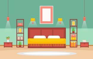 gezellig slaapkamerinterieur met tweepersoonsbed en planken