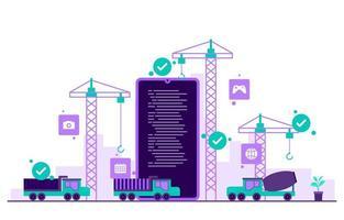 kranen en vrachtwagens die een mobiele app bouwen op de vlakke afbeelding van een smartphone vector