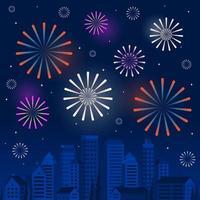 Gelukkig Nieuwjaar scène met vuurwerk over een gestileerde skyline van de stad vector