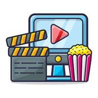 computer, klepelbord en popcorn voor het bekijken van de illustratie van het filmconcept vector