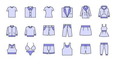 gevulde omtrek kleding pictogrammen vector