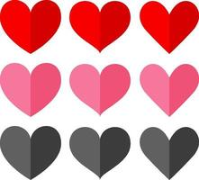 set van verschillende vormen en kleur van hart