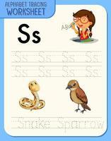 alfabet overtrekken werkblad met de letter s en s vector