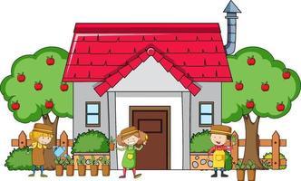 veel kinderen doen verschillende activiteiten in en om het huis