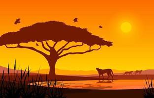 cheeta's bij oase in Afrikaans savannelandschap bij zonsondergangillustratie vector