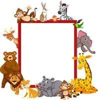 lege banner met veel verschillende wilde dieren
