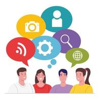 groep mensen die aan social media iconen denken