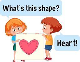 kinderen houden hartvorm banner met wat is dit vorm lettertype