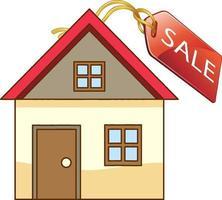 voorkant van een huisje met verkoop tag geïsoleerd