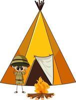 camping tent met doodle kinderen stripfiguur geïsoleerd vector