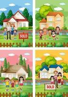 verschillende scènes van een familie die voor een huis te koop staat