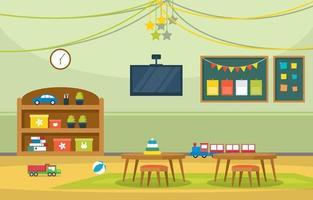 kleurrijke kleuterschool of basisschool klas met bureaus en speelgoed illustratie vector