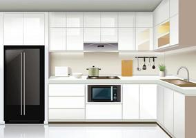 moderne keuken interieur achtergrond sjabloon vector