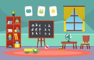 kleurrijke kleuterschool of basisschool klas met bureaus en speelgoed illustratie