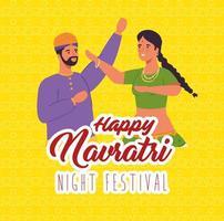 appy navratri viering poster met paar dansen vector